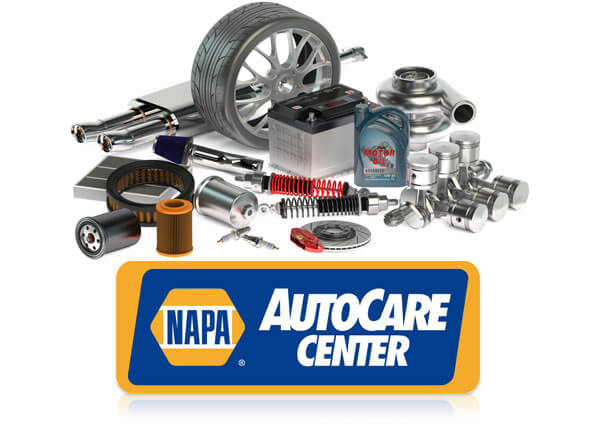 Variety of auot parts in the background with the NAPA AutoCare Center emblem in the foreground
